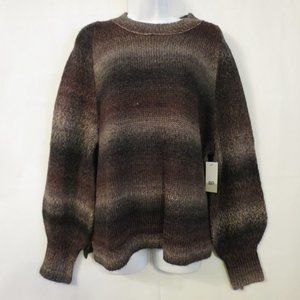 BP Nordstrom sweater 1X NWT Brown ombre Chunky pullover Balloon sleeve womens